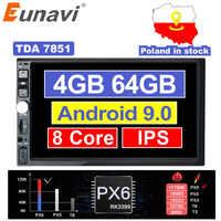 Eunavi 2 Din 7'' Octa core Universal Android 9.0 4GB RAM Car Radio Stereo GPS Navigation WiFi 1024*600 Touch Screen 2din NO DVD