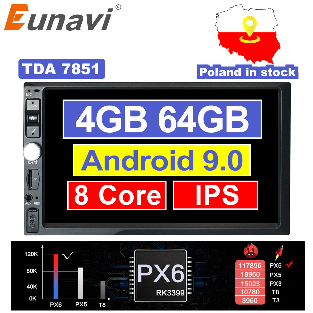 Eunavi 2 Din 7'' Octa core Universal Android 9.0 4GB RAM Car Radio Stereo GPS Navigation WiFi 1024*600 Touch Screen 2din NO DVD image