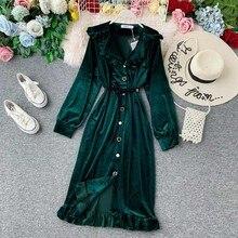 Velvet Dress Long Sleeve Ruffle Midi Tunic Belt V Neck Elegant Korean Autumn Plus Size Large Vintage Green Black Women Vestidos