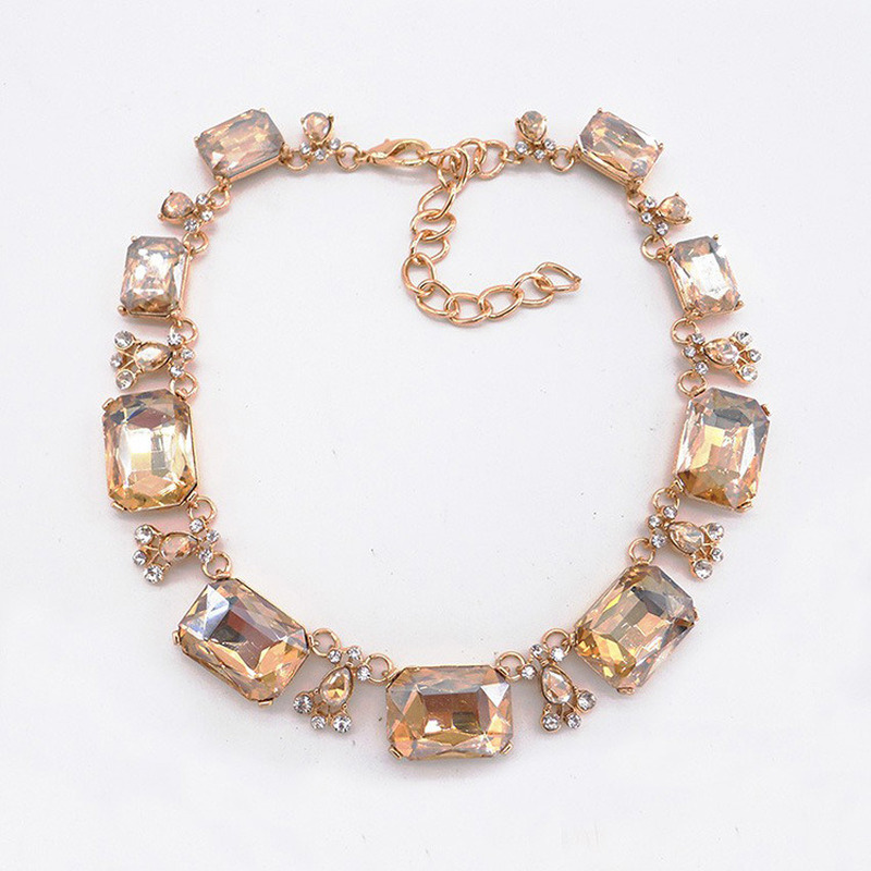 Brilho quadrado zircon splice colar pequena gota de água strass pingente liga vermelha colar feminino olho captura banquete jóias