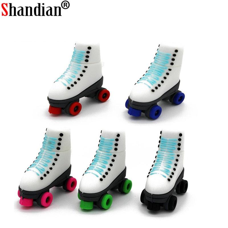 SHANDIAN Skates Pen Drive USB Flash Drives Genuine Pendrive 4GB  16GB 32GB 64GB  Roller Skates Shoes USB Flash Disk Memory Stick