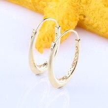 Original 925 Sterling Silver Shine Gold Oversized Oval Earrings Hook Pan Earrings Creative Hollow Large Earrings Hook Women