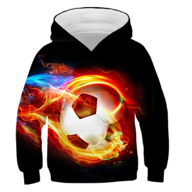 Foreign Trade Hot Sale Sweater Flame Football 3d Printed Sweater Children's Casual Hoodie Cartoon Hooded Sweater 100CM-160CM.C