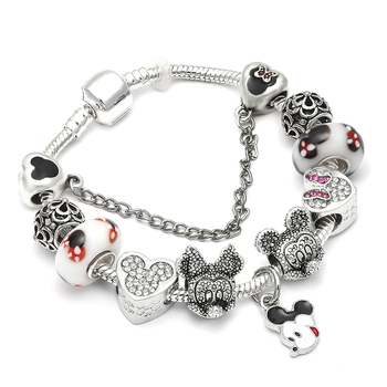 Cute Mickey Mouse Themed Bracelet Bracelets Jewelry New Arrivals Women Jewelry Metal Color: 26 Length: 21cm