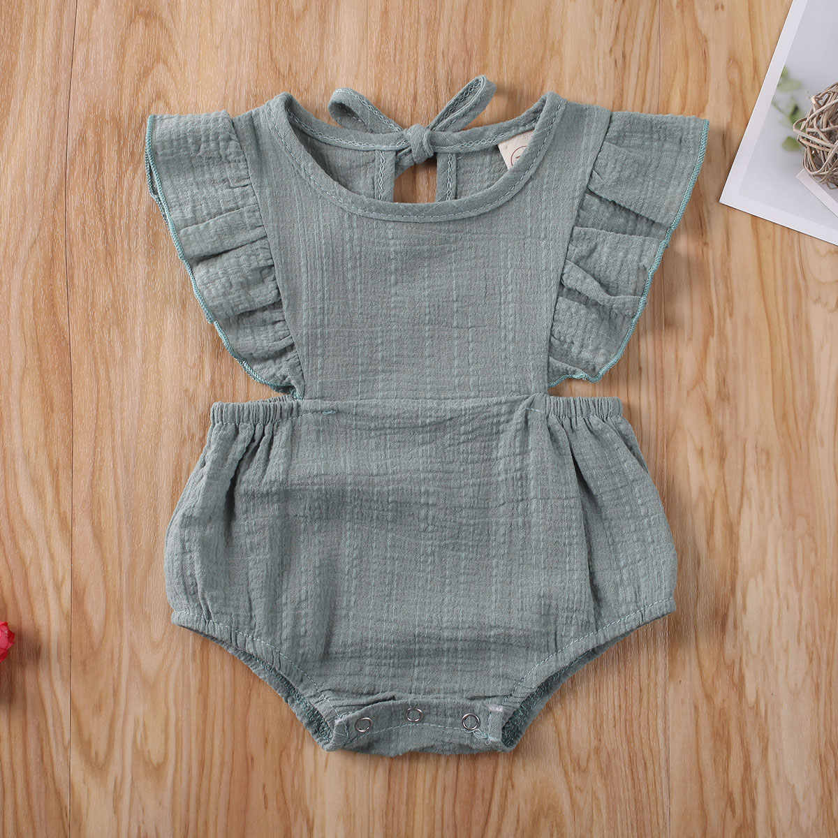 2020 Baby Summer Clothing Newborn Infant Baby Girl Solid Clothes Ruffle Jumpsuit 100% Cotton High Quality Bodysuit Outfit 0-12M