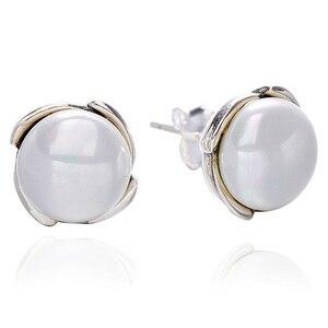 Подлинные 925 пробы Серебряные Серьги серебристые и серые с жемчугом серьги-гвоздики для женщин свадебный подарок хорошее ювелирное изделие