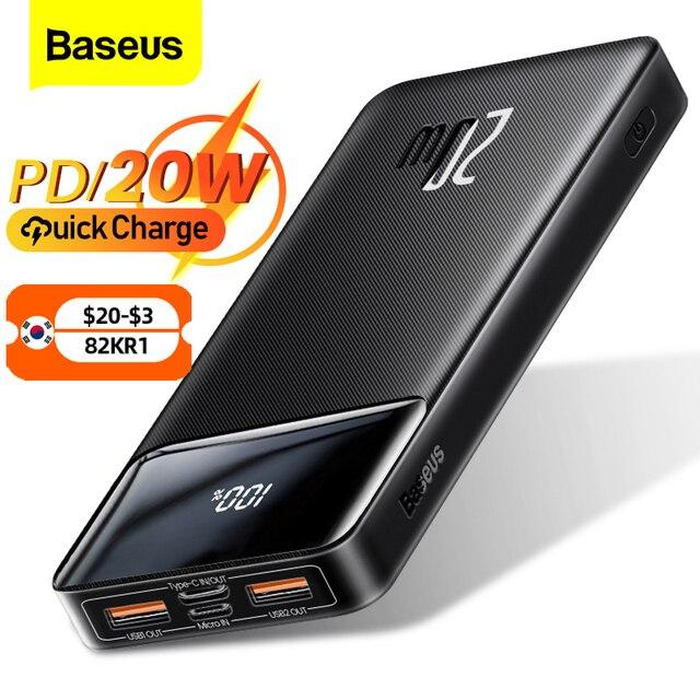 Baseus power bank 20000mah carregador portátil powerbank 10000 bateria externa pd 20w carregamento rápido para iphone 13 xiaomi poverbank 1