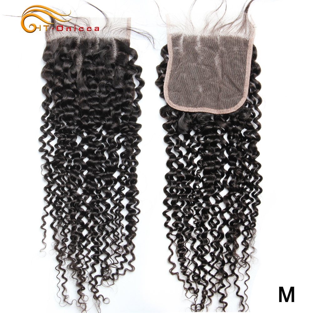 Htonicca 5x5 Malaysian Kinky Curly Closure Natural Color 100% Human Hair Lace Closure With Baby Hair 8-18 Inch Medium Ratio