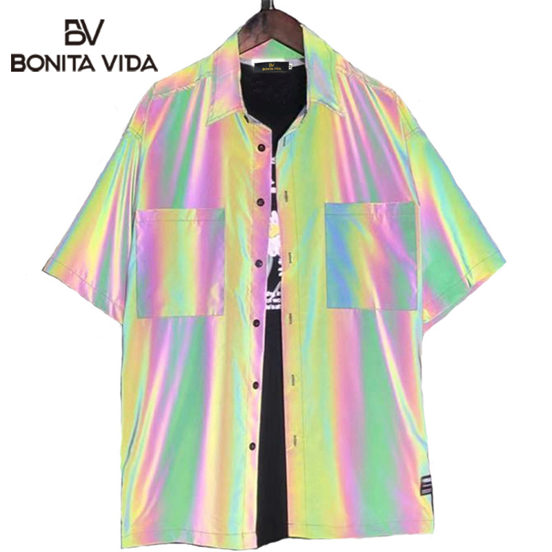 Bonita Vida Laser Rainbow Reflective Pocket Mens Shirt 2020 Summer Harajuku Punk Rock Hip Hop Shirt Streetwear Tops Clothes
