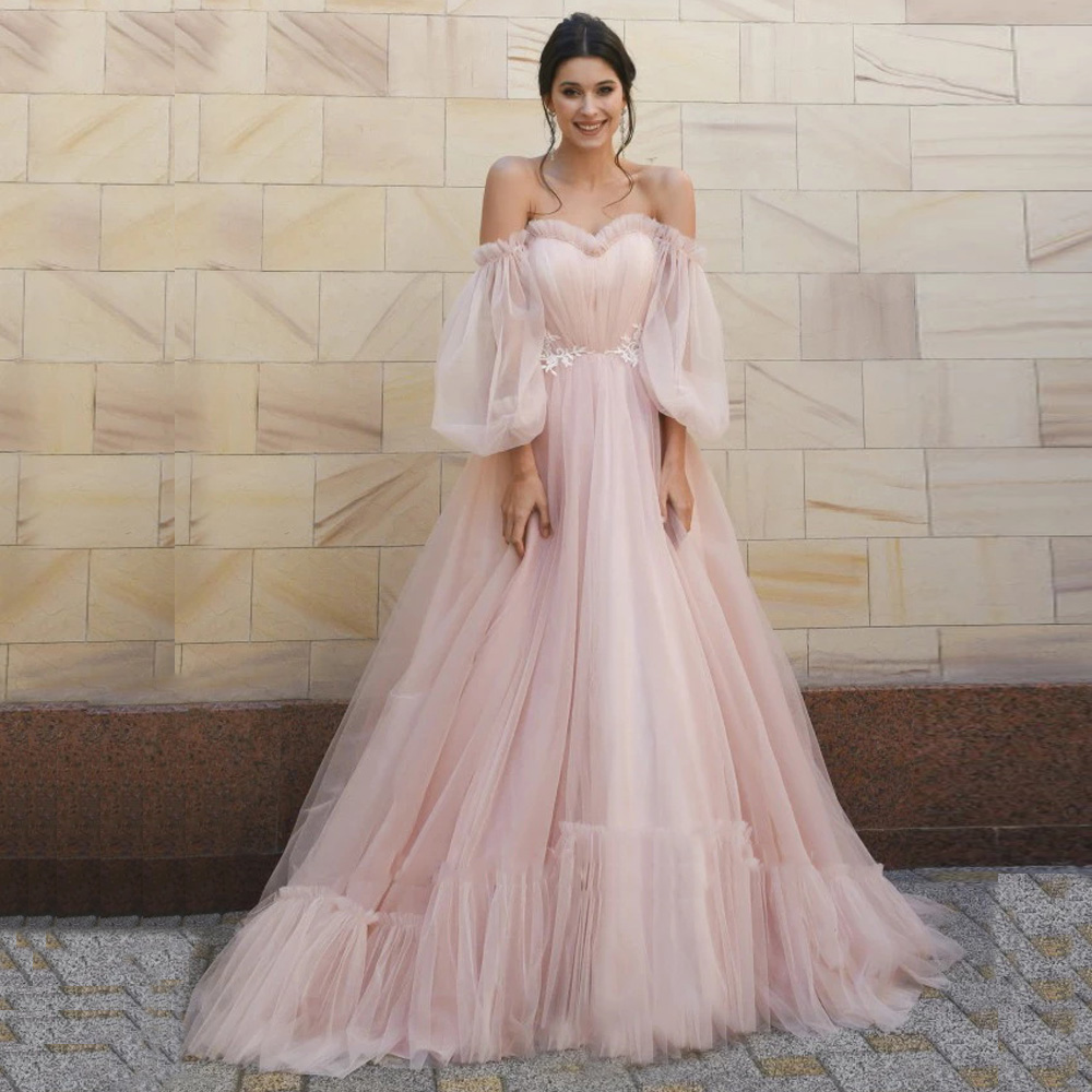New Arrival Pink Wedding Dress Puff Sleeve Sweetheart Ruched Pleats Tulle A-line Bridal Wedding Dresses Robe De Mariee