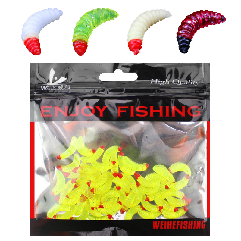 50pcs/ outdoor Winter fishing Bionic soft bait aphid 2cm/0.5g Artificial Manufacturing Soft bait sink Fishing accessories lure 2