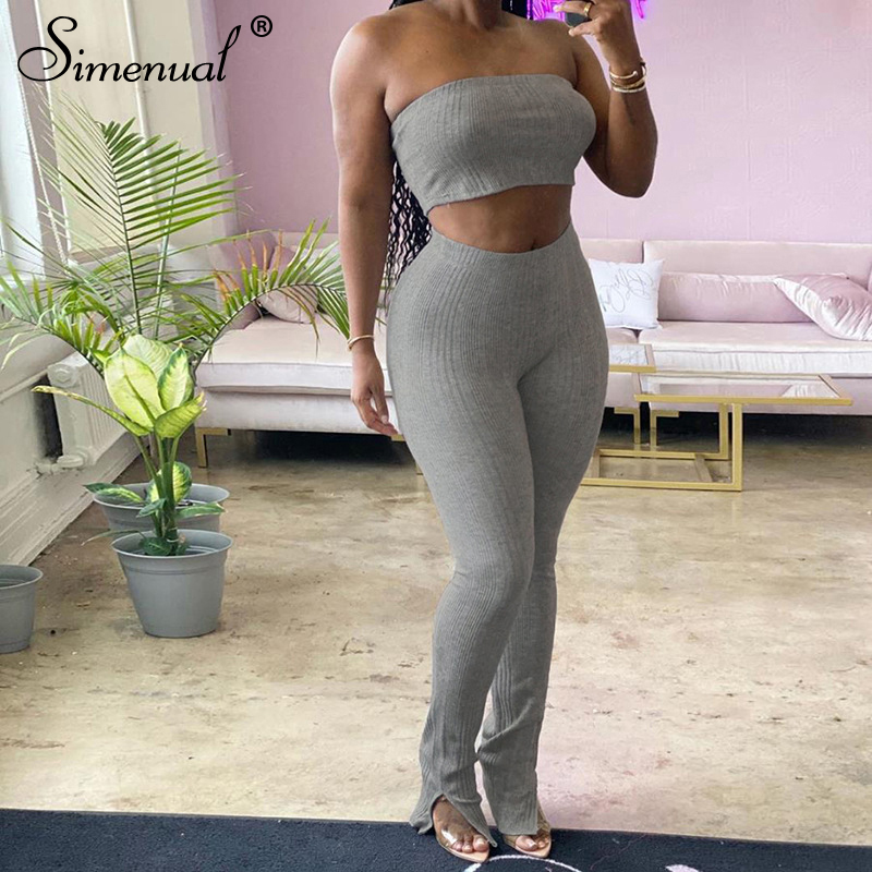 Simenual Ribbed Bodycon Club Two Piece Sets Women Fashion 2020 Summer Party Outfits Strapless Tube Top And Pants Matching Set
