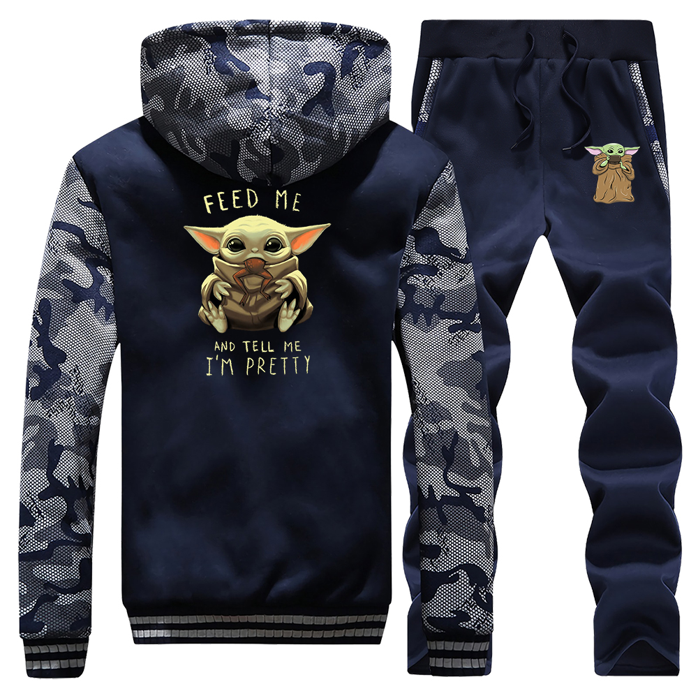 Baby Yoda The Mandalorian Men Set Tracksuit Thick Fleece Hoodies Sweatshirt Feed Me And Tell Me I'm Pretty Sweatpants Male Sets