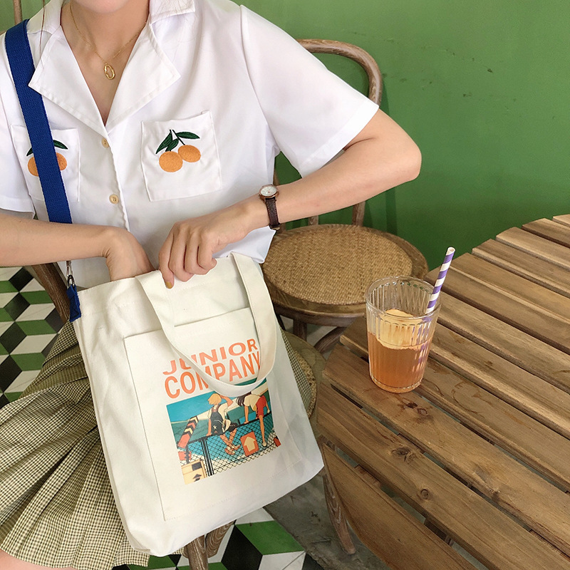 Large Capacity Solid Canvas Shoulder Bags Environmental Shopping Bag Letter Women Cotton Canvas Fabric Eco Tote Bag Bolso Mujer