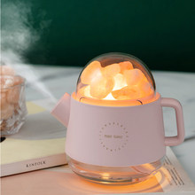 Humidifier USB Wireless Charging Crystal Aroma Diffuser with Salt Stone Kettle Aromatherapy Essential Oil Diffuser with Light