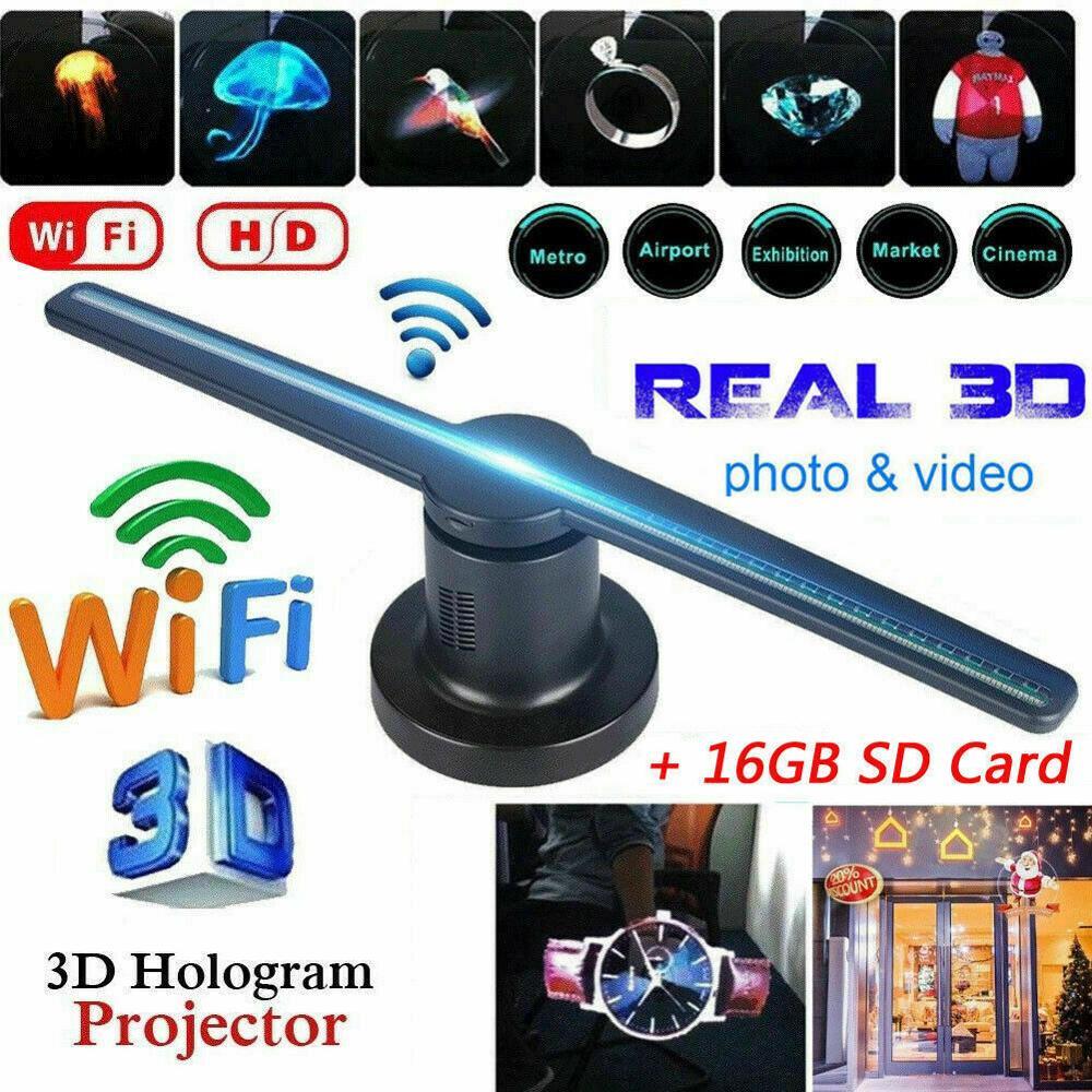 Wifi 3D ホログラムプロジェクターファン LED ホログラフィランププレーヤー 3D リモート広告ディスプレイプロジェクターライト 16 グラム TF
