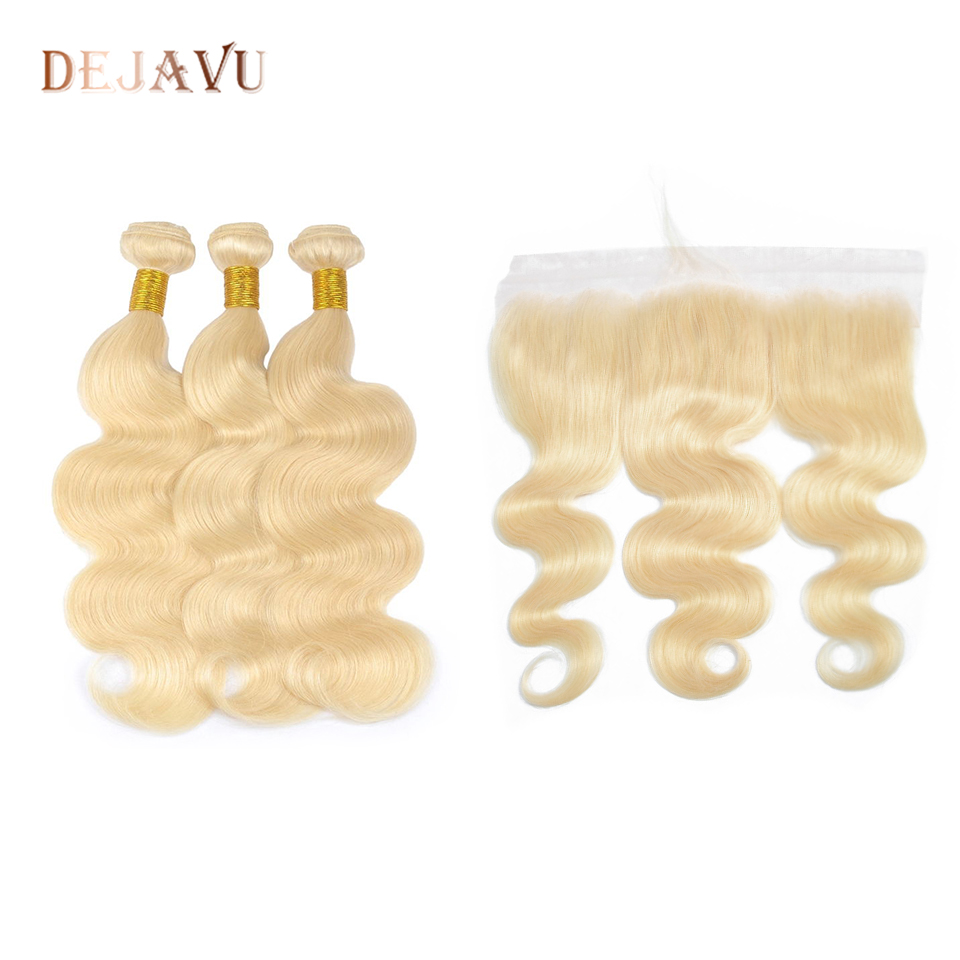 613 Ombre Blonde Bundles With Frontal Ear To Ear Peruvian Body Human Hair 13*4 Lace Frontal Closure With Bundles