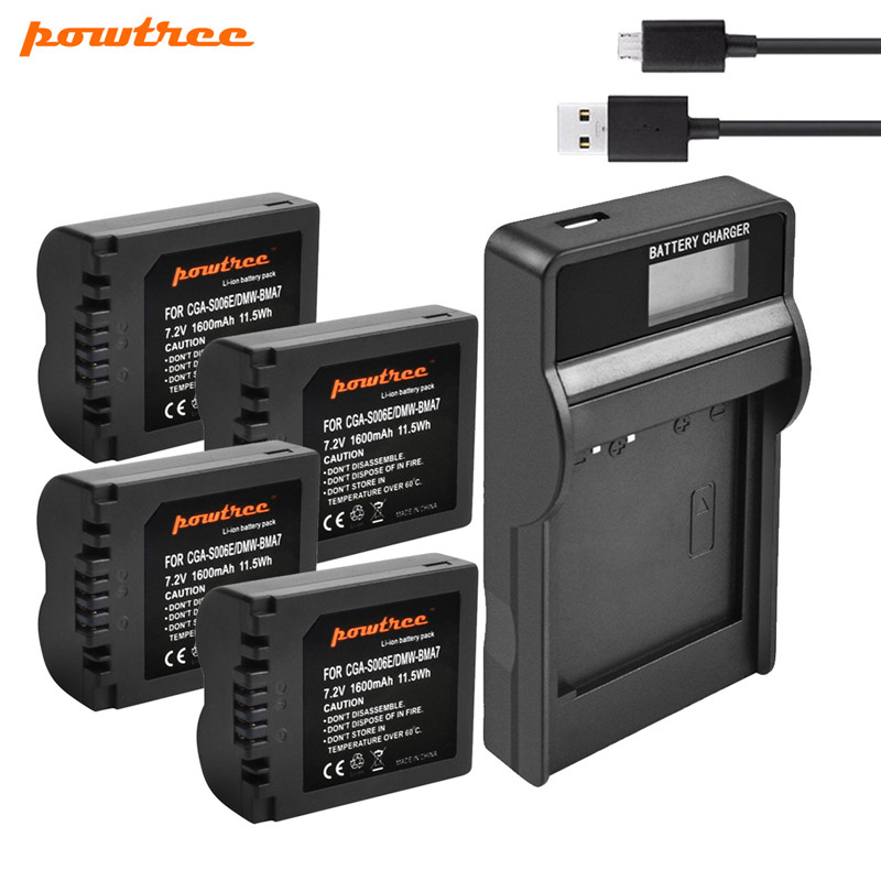 Powtree 1600mAh CGA-S006 CGA S006 Batterie + USB Chargeur LCD pour Panasonic Lumix DMC-FZ28 DMC-FZ7 DMC-FZ8, FZ50, FZ8K, FZ28K