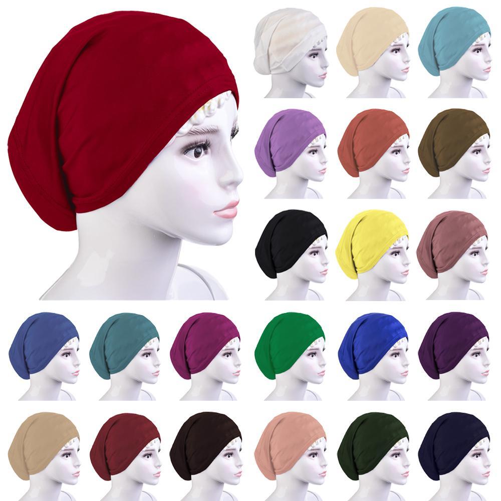 Under Scarf Muslim Women Turban Bone Bonnet Tube Hijab Inner Cap Islamic Hair Loss Cover Headscarf Solid Head Wrap Underscarf