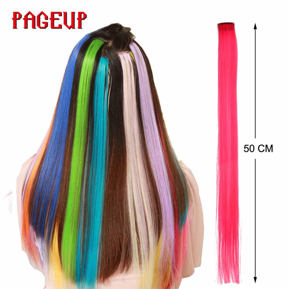 Pageup Regenboog Synthetisch Nep Haar Pieces Lange Rechte Ombre Haarstukje Voor Vrouwen Blonde Roze Clip In Hair Extensions Kleurrijke