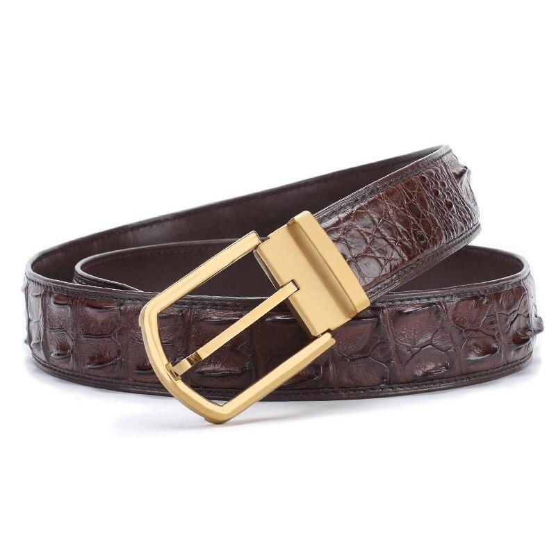 McParko, мужские кожаные ремни с пряжкой, роскошный кожаный ремень из крокодиловой кожи, мужские деловые поясные ремни, коричневые классически... - 3