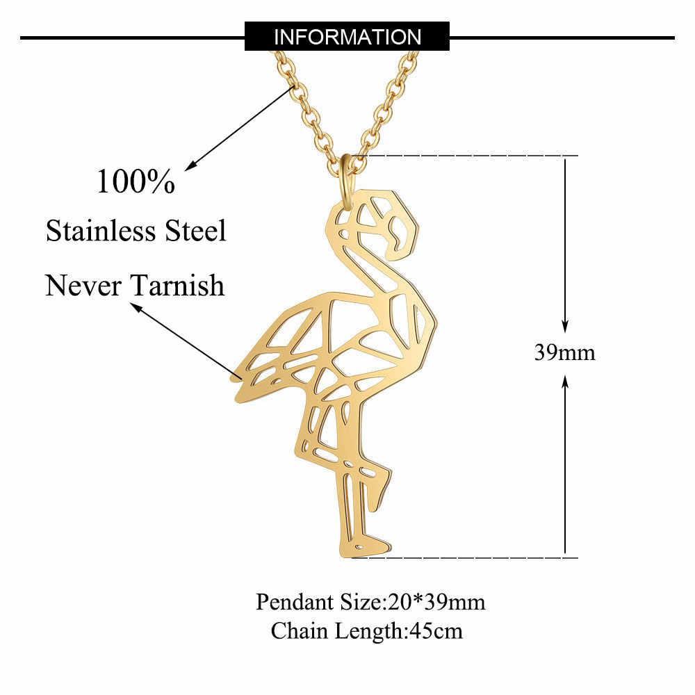 Vnistar ユニークなネックレスアメージング品質 100% ステンレス鋼動物フラミンゴ女性のファッションジュエリー JN024
