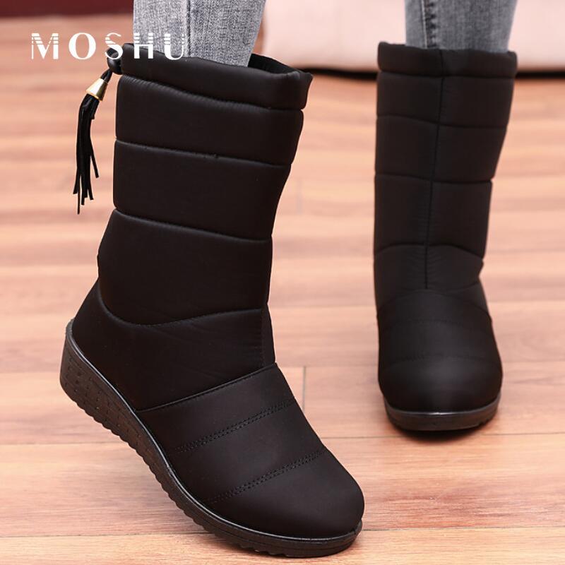 Ankle Boots Women Winter Snow Boots Female Faux Fur Plush Booties Waterproof Shoes For Women Black Down Boots botas de mujer