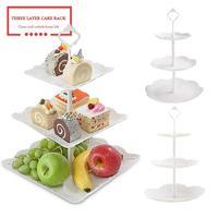 Durable 3 Schichten Dessert Obst Platte Multi Schicht Kuchen Rack Dessert Tray Party Nachmittag Tee Rack Home Küche Liefert-in Regale und Halter aus Heim und Garten bei