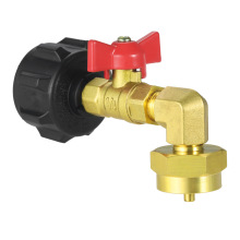 QCC1 Propane Refill Elbow Adapter Brass Regulator with ON-Off Control Valve LP Gas Refill Camping BBQ Grill 1LB Tank Cylinder