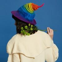 Personality Rainbow Wool Felf Caps Funny Handmade Autumn Winter Women Hats Fashion Wild Party Cap Long Tube Magic Gradient Hats