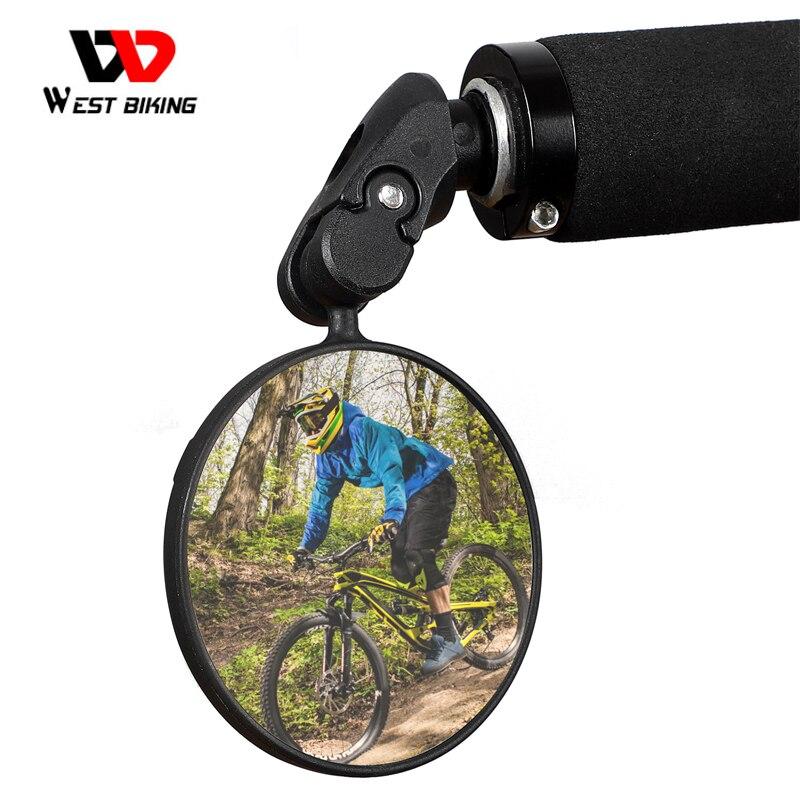 WEST BIKING دراجة الرؤية الخلفية 360 تدوير السلامة Cycing مرآة الرؤية الخلفية اكسسوارات الدراجة ل 18-25 مللي متر الدراجة الجبلية المقود المرايا