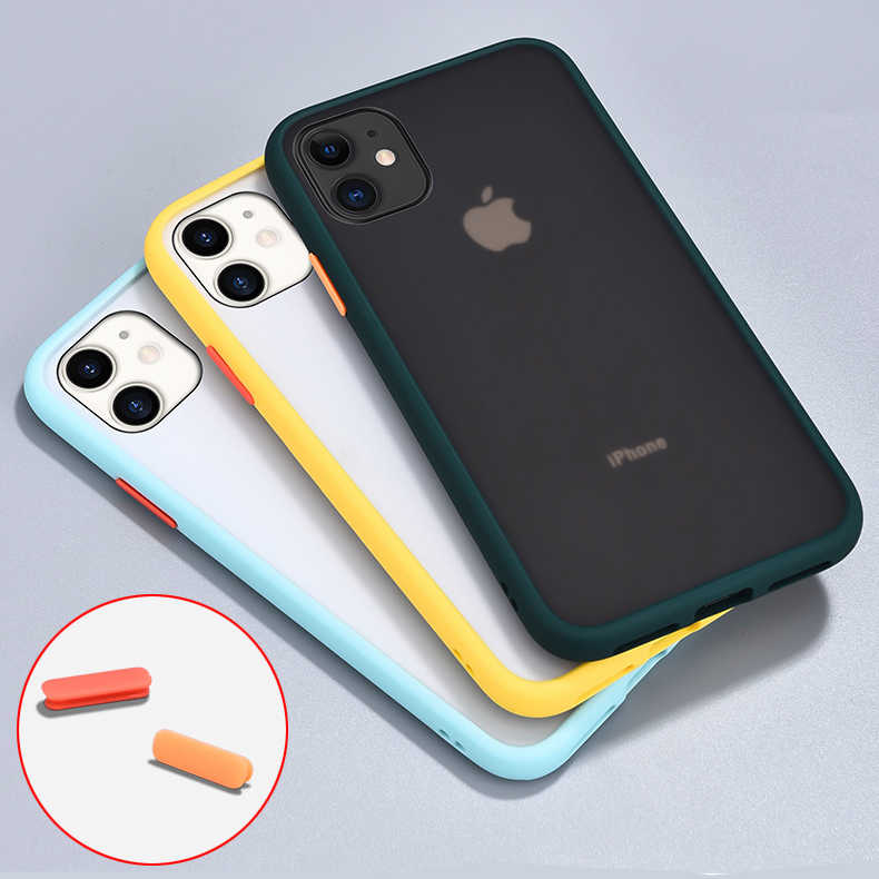 Armor Phone Case For iPhone 11 Pro X XR XS Max 7 8 Plus Luxury Contrast Color Frame Matte Hard PC Protective For iPhone 11 Case