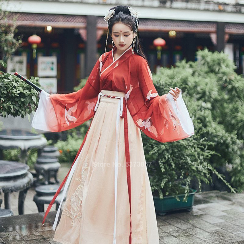 Chinese Traditional Clothes Festival Folk Dance Dress Hanfu For Women Girls Vintage Retro Fairy Crane Embroidery Chiffon Red Set