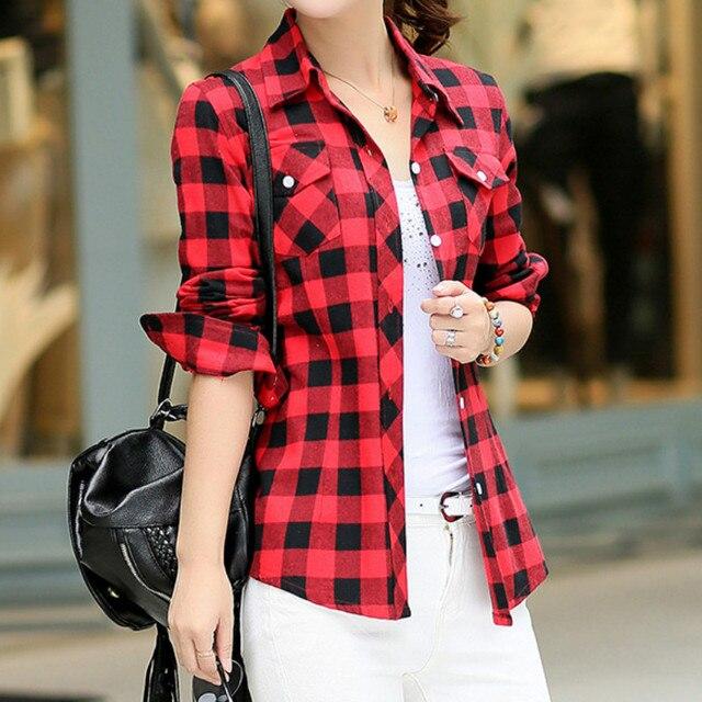Autumn Spring Blouses Fashion Turn Down Collar Cotton Tops Women's Plaid Shirt Office Work Slim Long-Sleeve Shirts Blusas Mujer 1