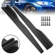 2pcs 74.5cm Universal Car Side Skirt Rocker Splitters Winglet Wings Bumper Carbon Fiber Body Skirts