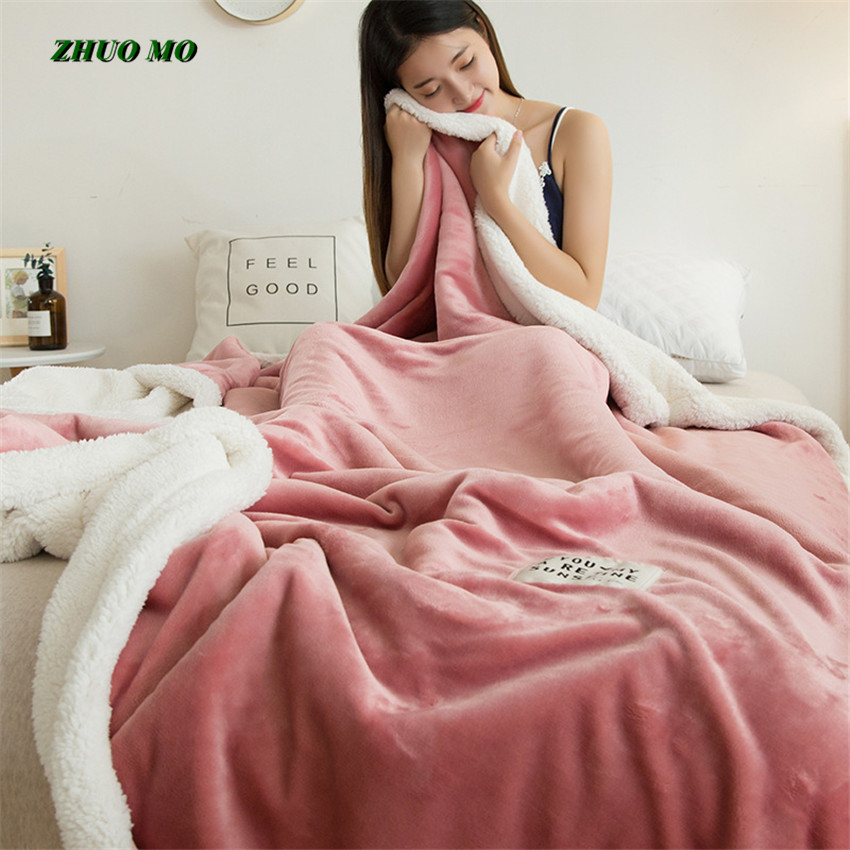 ZHUO MO Double layer lamb blankets for beds pink winter weighted blanket Fleece Super Soft Throw On Sofa Bed sheets blanket Blankets     - title=