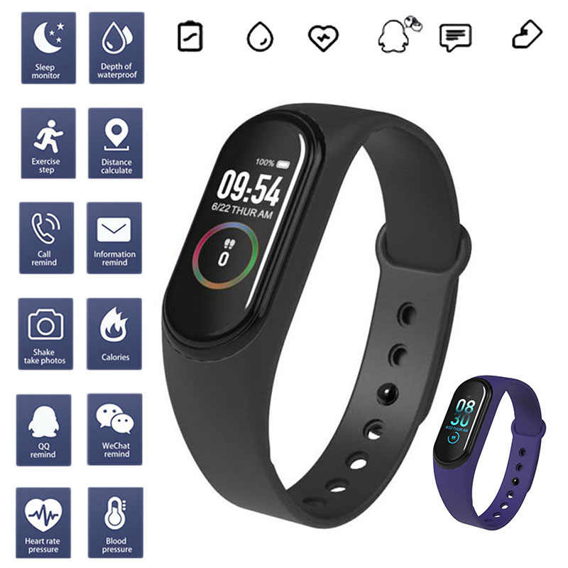 M4 Sport Smart Gelang Gelang Smart Band Monitor Detak Jantung Tekanan Darah IP68 Tahan Air Kebugaran Tracker Kids Smart Watch