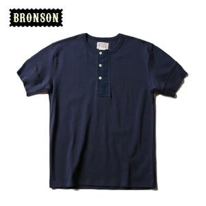 Image 4 - BRONSON Henley T Shirt dawne czasy męskie bawełniane koszule męskie koszulki z krótkim rękawem Tee Slim dopasowane koszulki Casual ubrania Vintage Solid Color