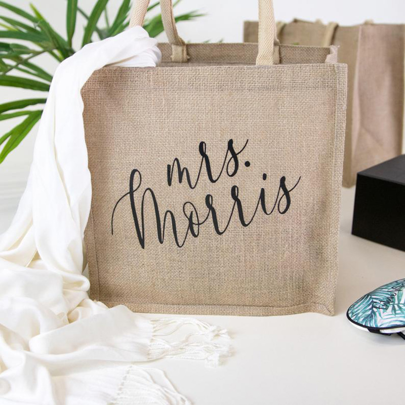 Personalized Burlap Tote Bag - Beach Canvas Tote Bridal Party Beach Bags, Custom Wedding Totes, Maid Of Honor Custom Tote Bags