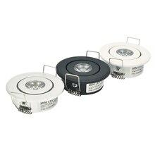 10pc 1W Mini led Downlight Schrank Einbau Spot licht led treiber Reine Natur Warm weiß und Weiß Silber schwarz körper AC85 265V