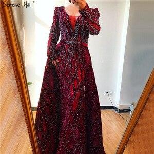 Image 2 - Dubai Blue Deep V Crystal Sexy Evening Dresses 2020 Long Sleeves Luxury Mermaid Evening Gowns Serene Hill Plus Size LA70223