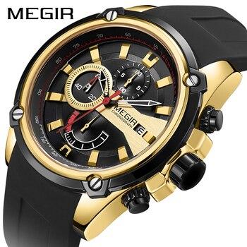 MEGIR брендовые роскошные мужские силиконовые спортивные часы мужские хронограф кварцевые военные армейские часы золотые наручные часы Relogio ...