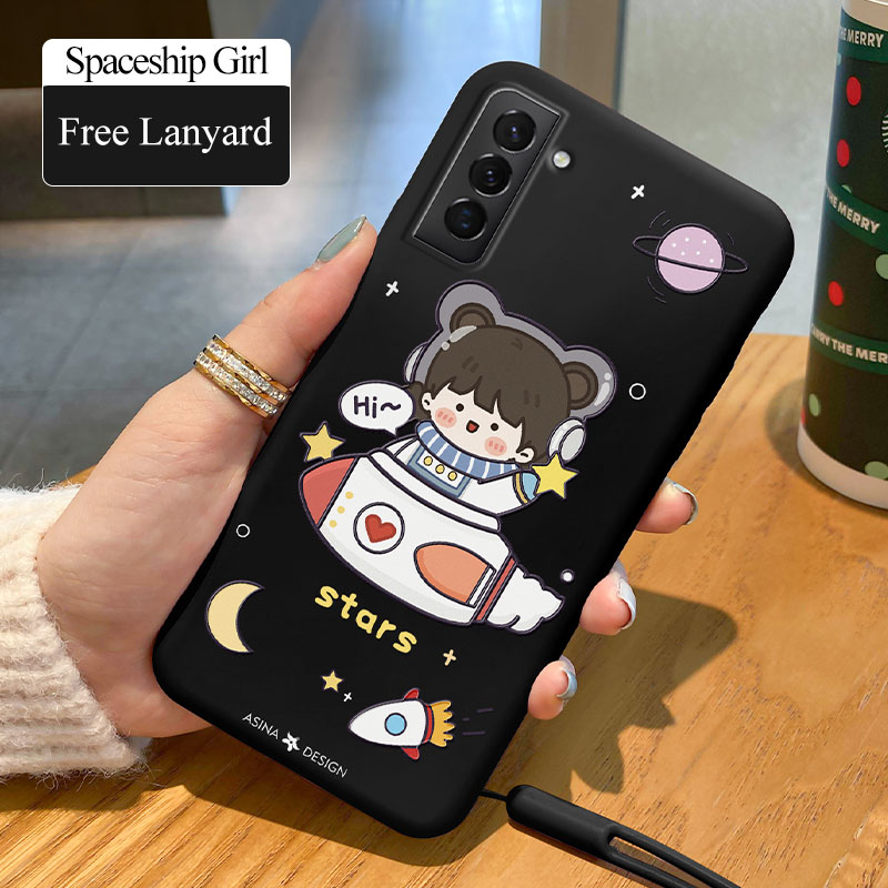 Cute Girl Case For Samsung Galaxy S21 Ultra S20 S10 S9 Plus Soft Liquid Silicone Cover For Samsung Note 9 10 20 Fundas