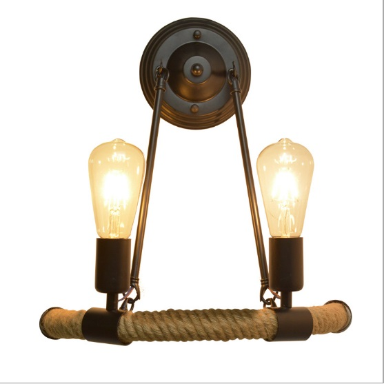 American double head Nordic retro fashion modern minimalist balcony staircase light semi-circular hemp rope wall lamp