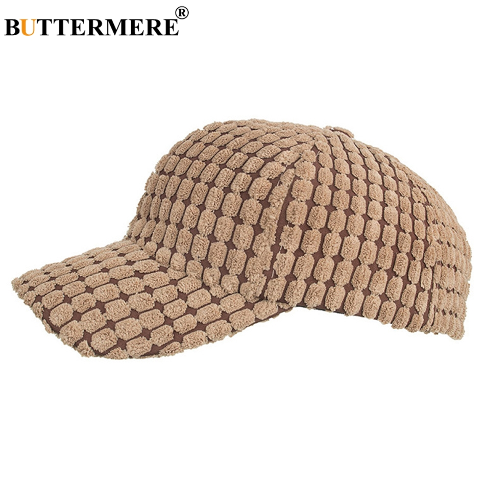 BUTTERMERE Corduroy Hat Baseball Women Winter Cap Plaid Female Khaki Adjustable Warm Designer Ladies Casual