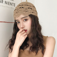 HT3165 Women Hat Breathable Hollow Spring Summer Beanie Hat Vintage Crochet Flow