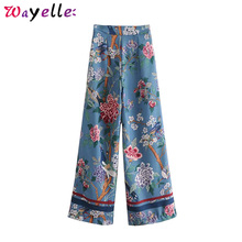 Wide Leg Pants Floral Bird Print Vintage Elegant Women 2019 Chic Side Zipper Trousers Pantalones Mujer Cintura Alta