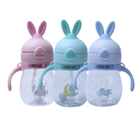 Baby's Learning Cup Taza Drinking Handles Sippy Cups Feeding Water Bottle Kids Cute Cartoon PP Straw Leakproof Cup