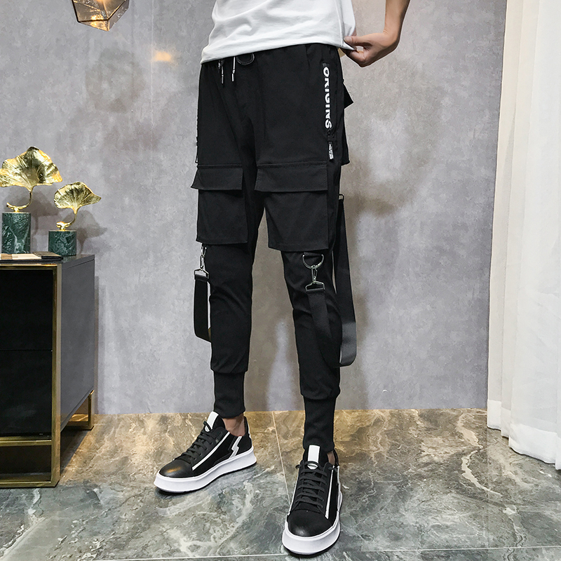 Mens Fashion Pants Streetwear Overalls Black Harem Pants Ribbons Pocke