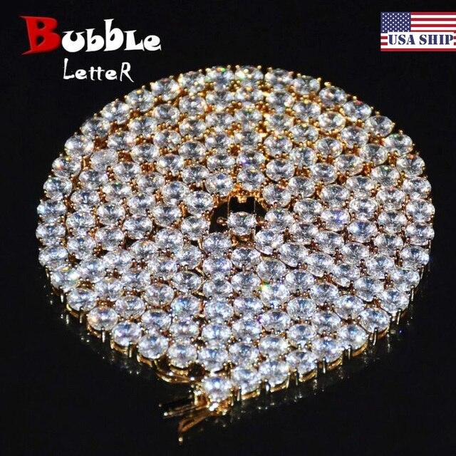 Цепочка Мужская теннисная с фианитами, ожерелье в стиле хип хоп, медный материал, цвет золото, 18 дюймов 20 дюймов, 1 ряд, 4 мм 5 мм 6 мм